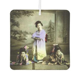 Vintage Geisha drie in de Oude Gekleurde Hand van Luchtverfrisser