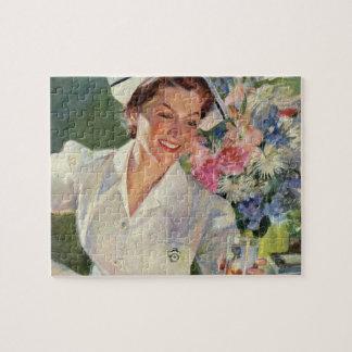 Vintage Geneeskunde, Gelukkige Verpleegster in Puzzel