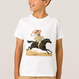 Vintage girl on a acrobat horse t-shirt