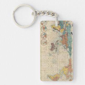 Gepersonaliseerde oude wereldkaart sleutelhangers - Vintage bank thuis van de wereld ...