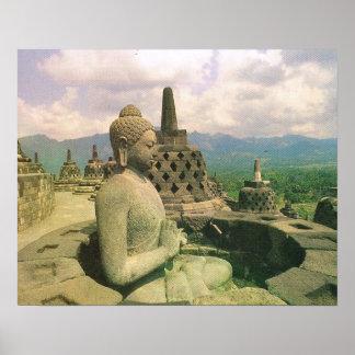 Vintage Java, Borobodur tempel, het cijfer van Poster