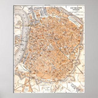 Vintage Kaart van Antwerpen België (1905) Poster
