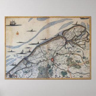 Vintage Kaart van Brugge België (17de Eeuw) Poster