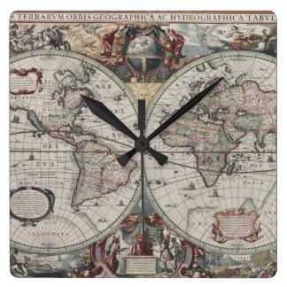 Oude wereldkaart klokken - Vintage bank thuis van de wereld ...