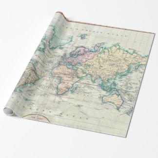 Vintage Kaart van de Wereld (1801) Inpakpapier