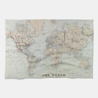 Wereldkaart keuken handdoeken wereldkaart handdoek - Vintage bank thuis van de wereld ...