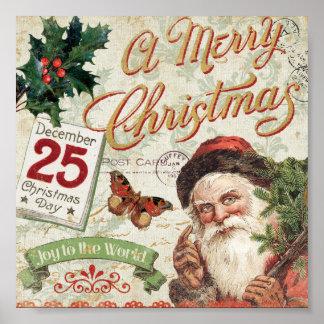 Vintage Kerstmis de Kerstman Poster