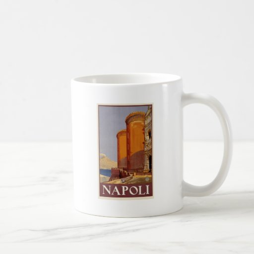 vintage-napoli-travel-poster. tasse à café