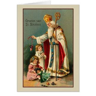 Vintage Nederlandse St. Nikolaas Kerstkaart Briefkaarten 0