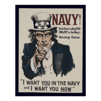 Vintage Oom Sam Navy WW1 Recruiting Poster