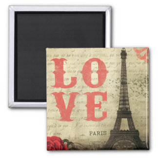 Vintage Parijs Vierkante Magneet