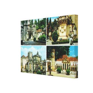 Vintage Portugal, Coimbra, middeleeuwse buldings Canvas Afdrukken