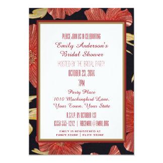 Vintage Rood Zwart BloemenVrijgezellenfeest 12,7x17,8 Uitnodiging Kaart
