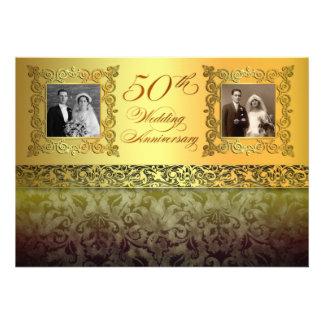 vintage twee foto's 50 verjaardagsuitnodigingen uitnodigingen