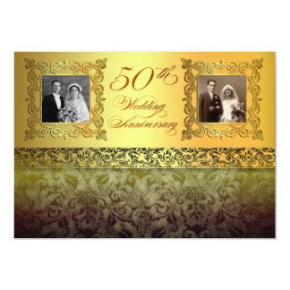 vintage twee foto's 50 verjaardagsuitnodigingen kaart