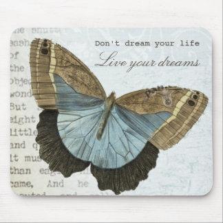 Vintage vlinder positief inspirerend citaat muismatten