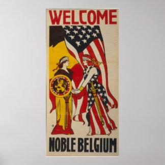 Vintage Welkom Edel België Poster