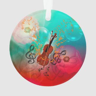 Violon avec l'arc de violon avec la clef et les