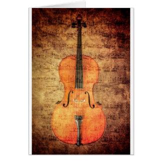 Violoncelle vintage carte de vœux