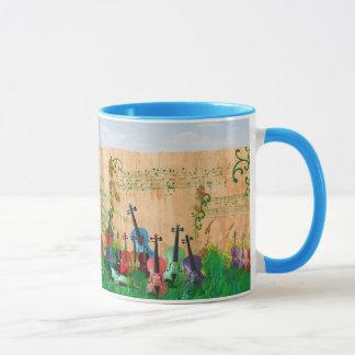 Violons coloré tous dans une rangée mug