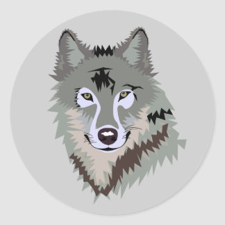 Visage Animated de loup Adhésif Rond