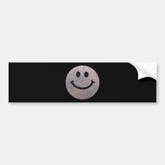 Visage argenté de smiley de scintillement de faux autocollant de voiture