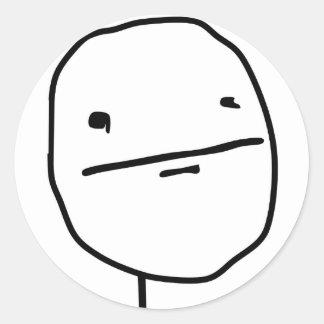 Visage comique de visage de tisonnier sticker rond