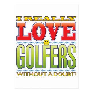 Visage d'amour de golfeurs cartes postales