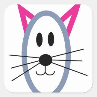 Visage de chat sticker carré