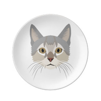 Visage de chat d'illustration assiette en porcelaine