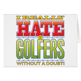 Visage de haine de golfeurs carte de vœux