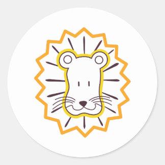 Visage de lion sticker rond