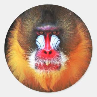 visage de singe sticker rond