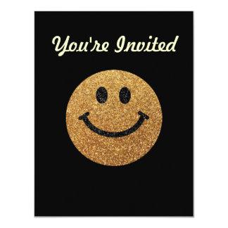 Visage de smiley de scintillement de faux d'or carton d'invitation 10,79 cm x 13,97 cm