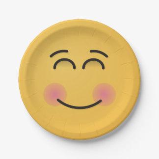 Visage de sourire avec les yeux de sourire assiettes en papier