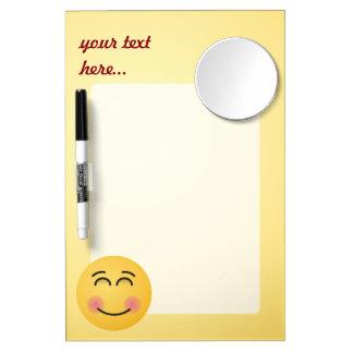 Visage de sourire avec les yeux de sourire tableau effaçable à sec avec mirroir