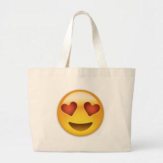 Visage de sourire avec les yeux en forme de coeur sac en toile jumbo