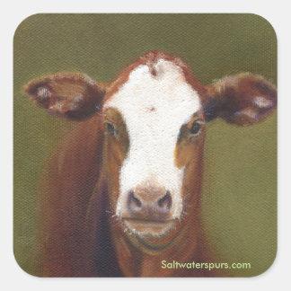 Visage de vache sticker carré