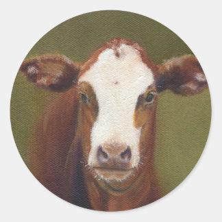Visage de vache sticker rond