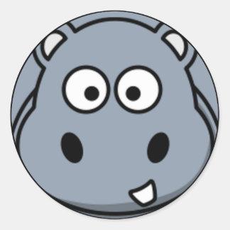 Visage d'hippopotame sticker rond