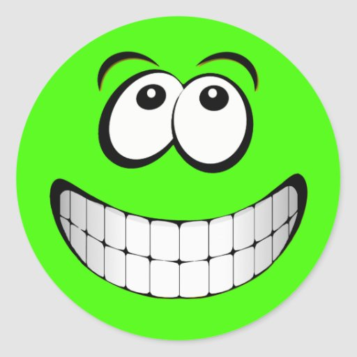 Visage fou vert de smiley de yeux autocollants ronds