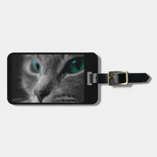 Visage gris de chat de fourrure avec de beaux yeux étiquette à bagage