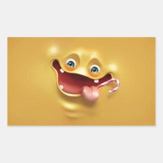 Visage jaune drôle sticker rectangulaire