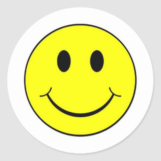 visage souriant autocollant rond