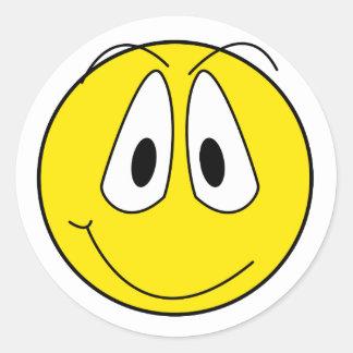 Visage souriant autocollants ronds