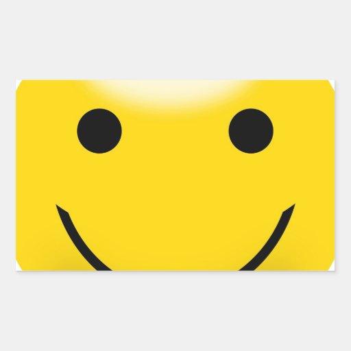 Visage souriant de bonheur autocollants en rectangle