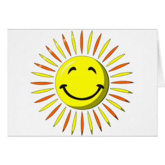 Visage souriant ensoleillé carte