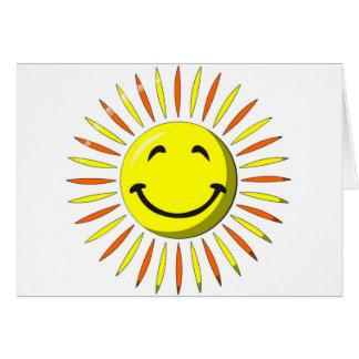 Visage souriant ensoleillé carte de vœux