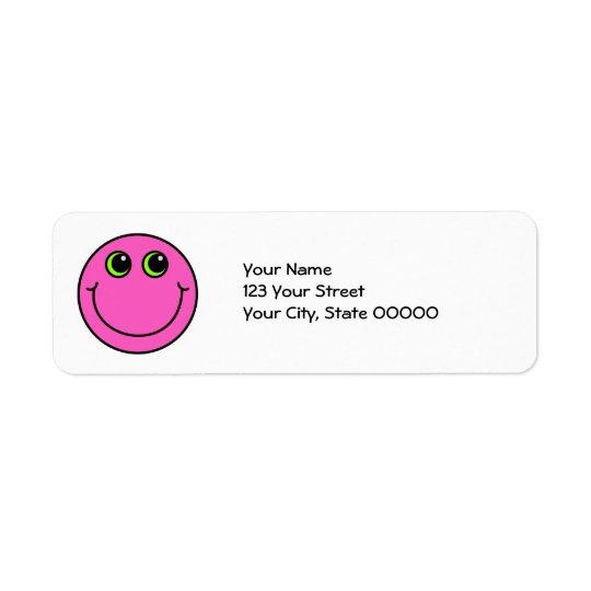 Visage souriant rose étiquettes d'adresse retour
