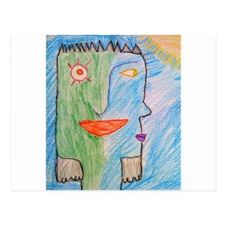 visage vert et bleu carte postale